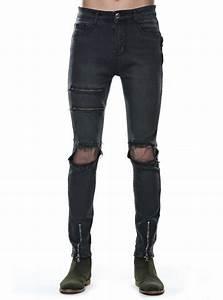 Jean Slim Noir Homme : jean slim homme noir ultra stretch d chir avec deux zips ~ Voncanada.com Idées de Décoration