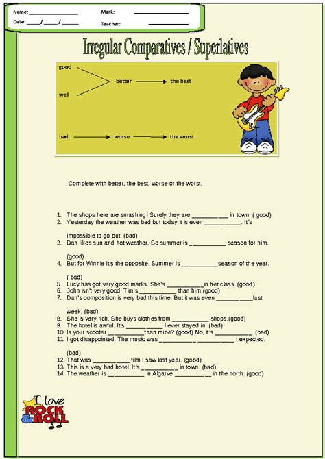 irregular adjectives worksheet irregular comparatives and superlatives worksheet