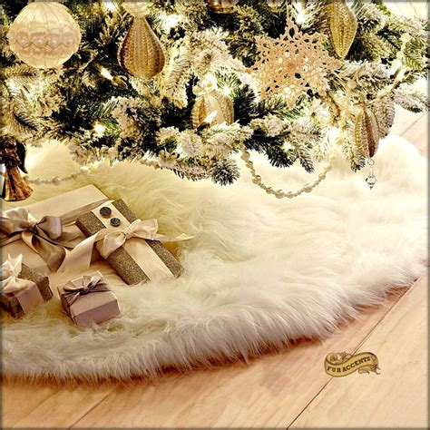 white furry fluffy christmas trees fur accents decoration shaggy faux fur