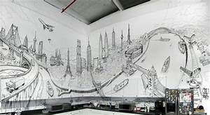 Impressive hand drawn mural combining landmarks from for Best brand of paint for kitchen cabinets with new york cityscape wall art