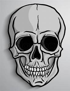 Human Skull Over Gray Background  Freehand Drawing Vector