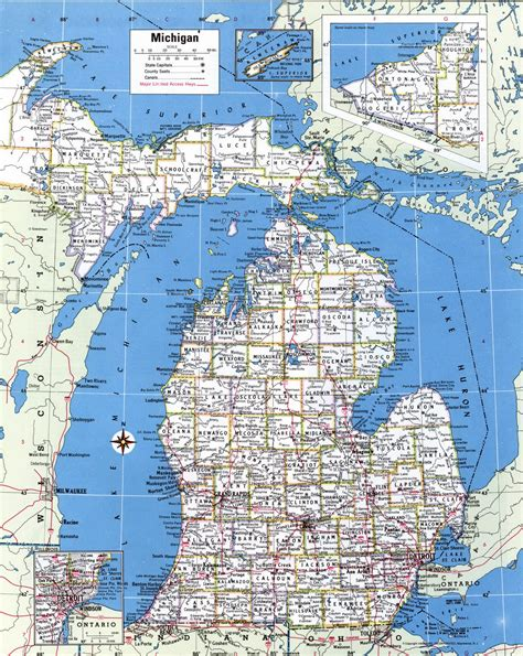 large detailed administrative map  michigan state