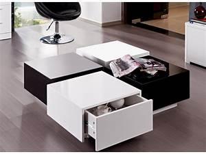 Table Basse Noir Laqué : table basse carmen 4 tiroirs mdf laqu blanc et noir ~ Teatrodelosmanantiales.com Idées de Décoration