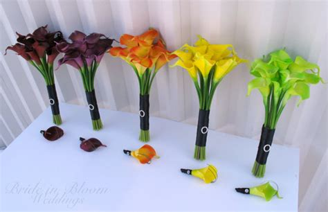 10 Piece Wedding Bouquet Set Real Touch Calla Lily