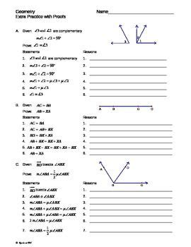 geometry intro proofs extra practice worksheet