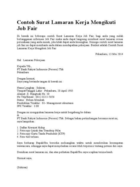 Surat Lamaran Pekerjaan Docx by Contoh Surat Lamaran Kerja Mengikuti Fair Docx