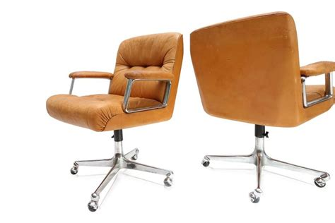 pair of cognac leather desk chairs by borsani at 1stdibs