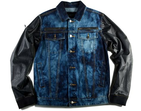 Jean Jacket For Men With Leather Sleeves