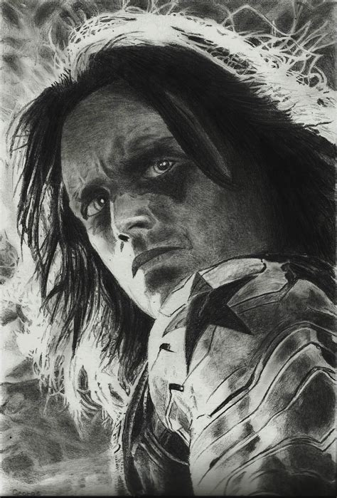 winter soldier realistic pencil drawing pencil drawings
