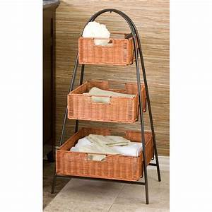Metal 3 tier wicker basket stand house design easy 3 for Wicker stands bathrooms