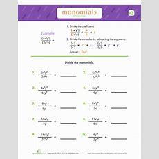 Dividing Monomials  Algebra Worksheets Educationcom