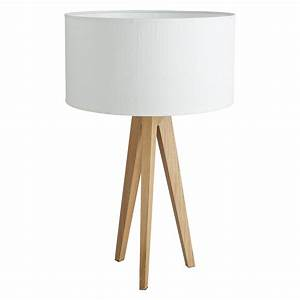 Tripod oak wooden table lamp with white silk shade buy for Tripod floor lamp silver base white shade