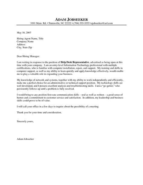 entry level it technician cover letter