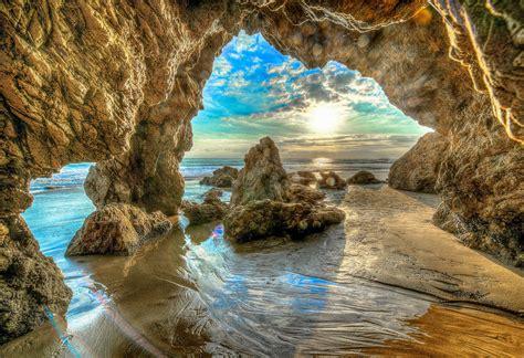 View of Ocean through Beach Cave HD Wallpaper | Background ...