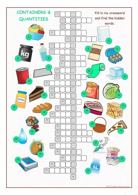 containers quantities crossword puzzle worksheet