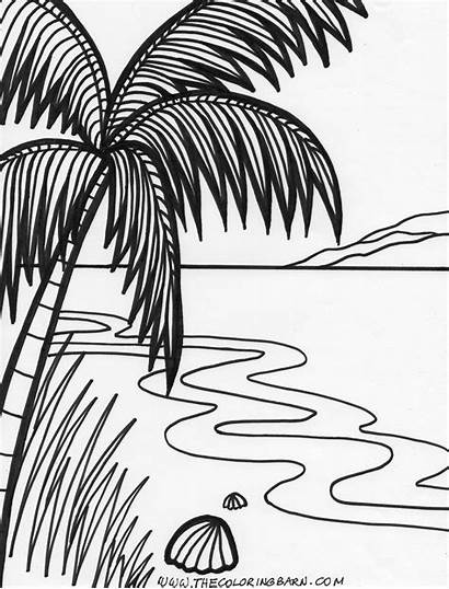 Coloring Sunset Pages Beach Drawing Island Printable