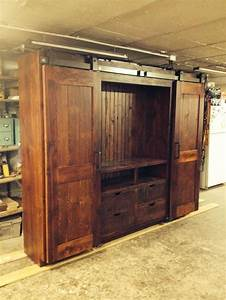 13 best images about barn door entertainment cabinet on With barn door entertainment unit
