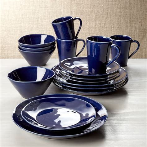 Marin Dark Blue 16 Piece Place Setting   Crate and Barrel