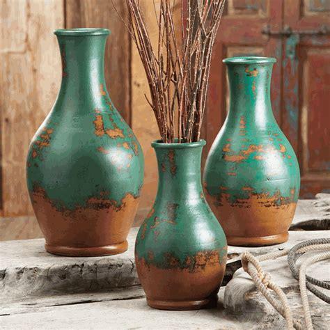 turquoise teardrop pottery vases set