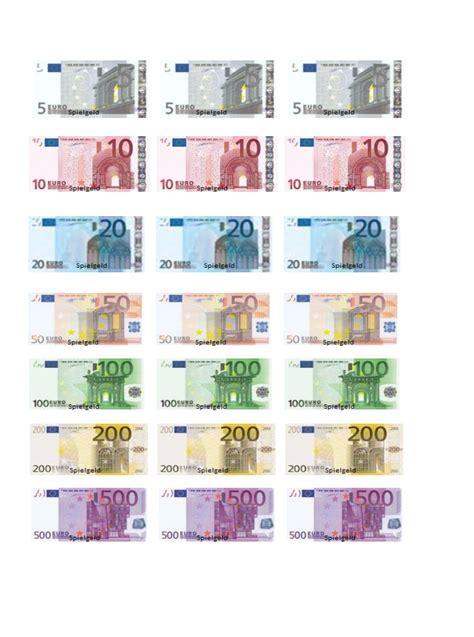 Euroscheine — der euro (internationaler währungscode. Spielgeld zum ausdrucken pdf - Bürozubehör