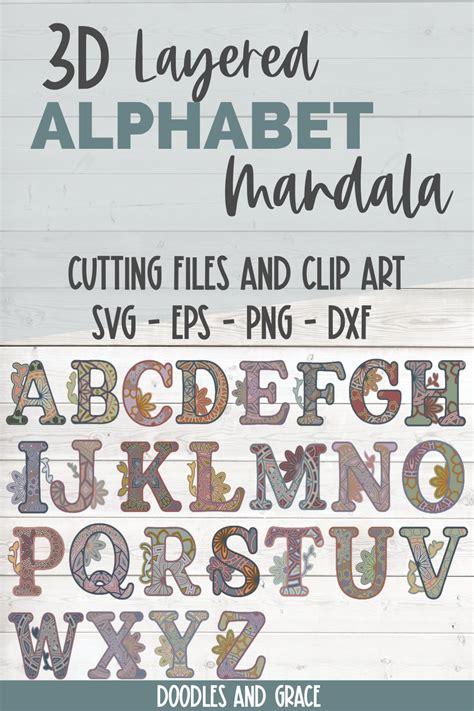 layered alphabet mandala bundle svg png eps dxf  cut files design bundles
