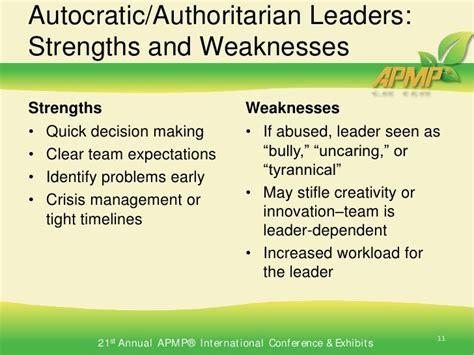 strengths  weaknesses decision making leader leadership