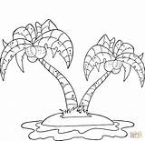 Coloring Palm Island Pages Trees Coconut Printable sketch template