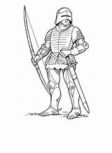 Coloring Archer Norman Knights Soldiers Boys sketch template