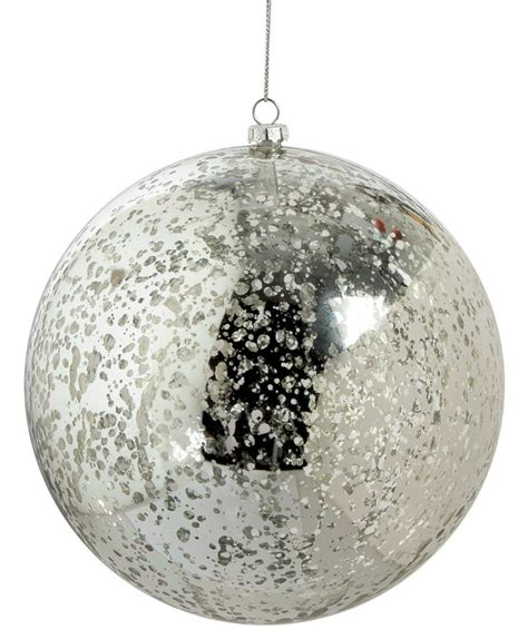 silver mercury glass finish ball ornament 6 quot and 10 quot size