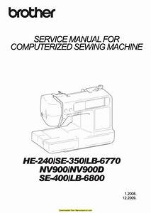 Brother Se400 Sewing Machine Service Manual Plus Parts