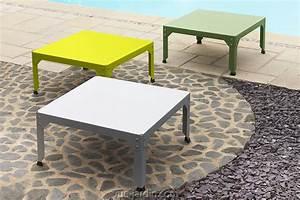 table basse de jardin carre hegoa 100x100cm de matire With table de jardin de couleur
