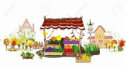 Market Marketplace Clipart Place Street Fruit Cartoon