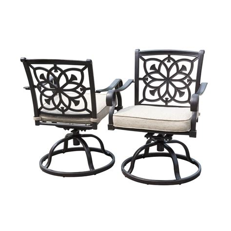 Abrego all weather wicker swivel rock lounge chair pottery barn. Allen + roth Ebervale Set of 2 Aluminum Dining Swivel ...