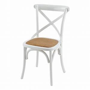 Chaise Blanche Et Bois : chaise bistrot blanche en bois et rotin villa florence ~ Nature-et-papiers.com Idées de Décoration