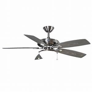 Hampton bay gazebo quot outdoor brushed nickel ceiling fan