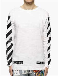 b744cd352b0c5f off white c o virgil abloh striped long sleeve t shirt in white for men lyst