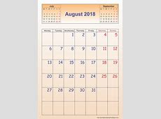 August 2018 Calendar – Template Portrait Printable 2017