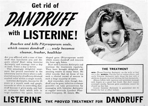 Listerine Started As Floor Cleaner by Listerine For Dandruff 1940a