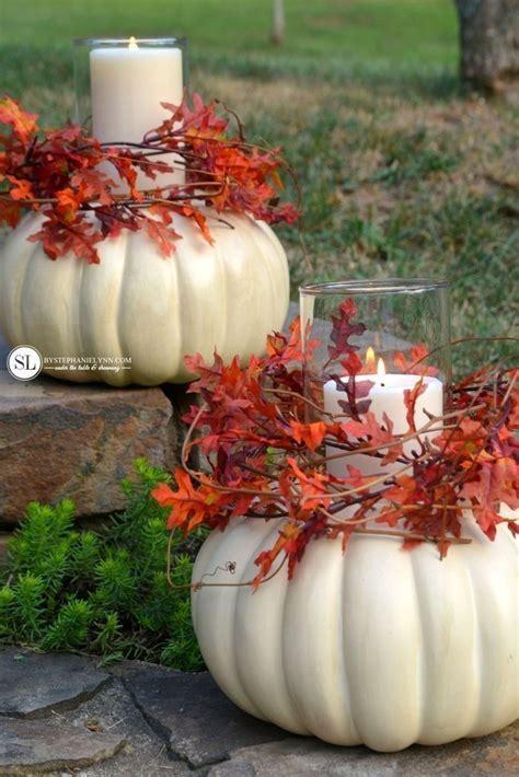 deko kuerbisse pumpkin candle centerpiece