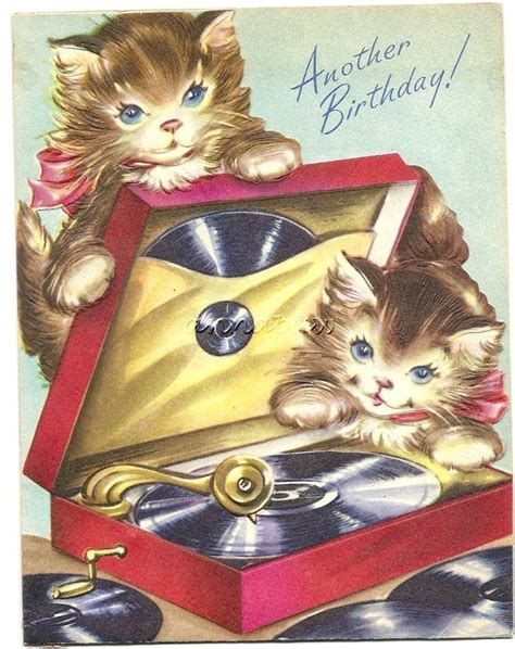 vintage birthday card  kittens playing  record