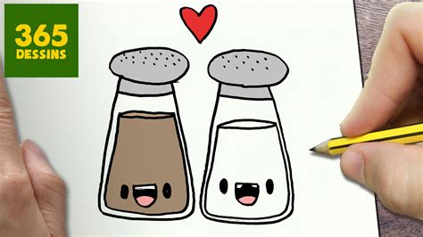 poubelle cuisine comment dessiner sel et poivre kawaii é par é
