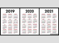 Pocket calendar 2019, 2020, 2021 set Basic simple