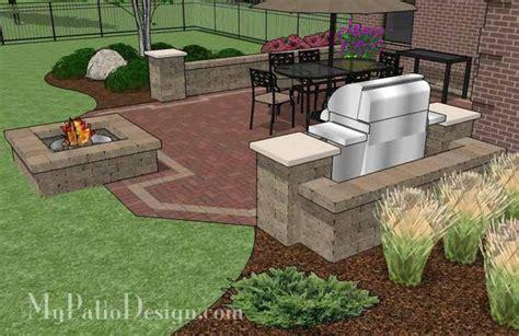 backyard brick patio design with pit plan