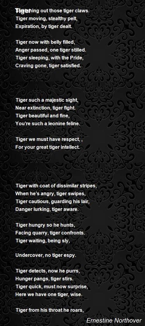 tiger poem  ernestine northover poem hunter