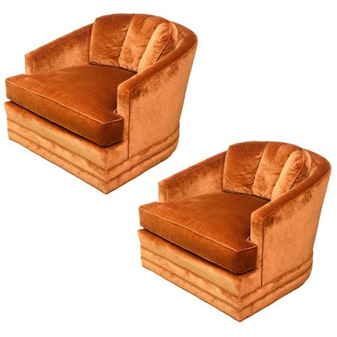 drexel heritage swivel club barrel chairs 1960s usa for