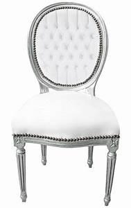 Chaise Style Baroque : chaise baroque de style louis xvi simili cuir blanc et bois argent ~ Teatrodelosmanantiales.com Idées de Décoration