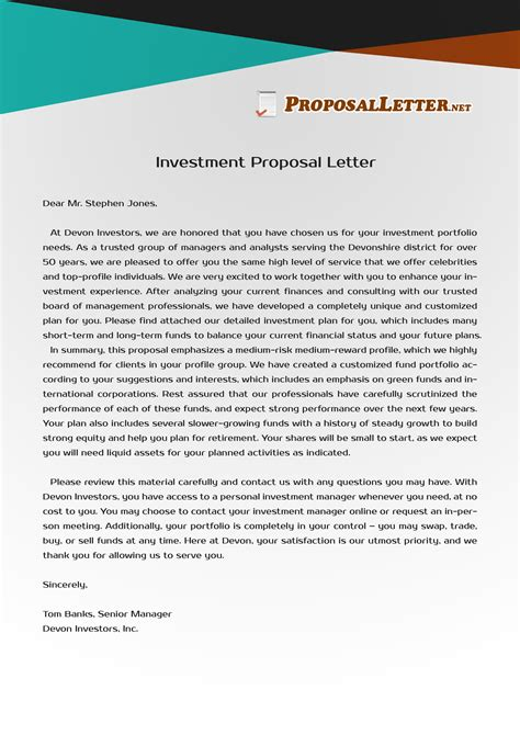 pin  proposal letter samples usa  investment proposal