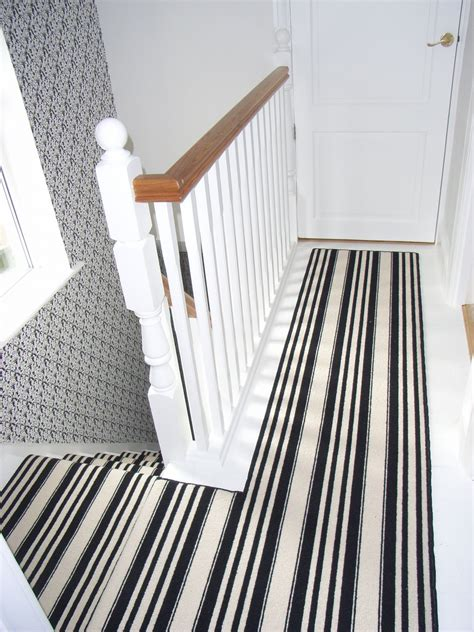 black and white striped runner halls stairs and landings style within