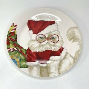 pier  imports christmas angry cat  santas hat  glasses collector plate ebay