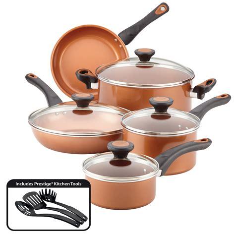 farberware glide  piece copper ceramic nonstick pots
